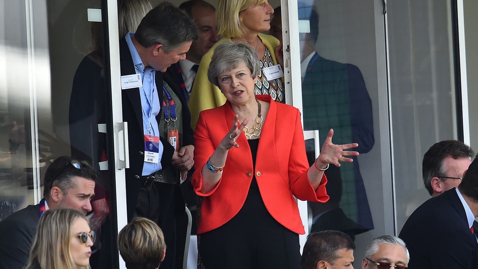 Britain Prime Minister Theresa May attends during the 2019 Cricket World Cup group stage match between England and South Africa at The Oval in London on May 30. — AFP
