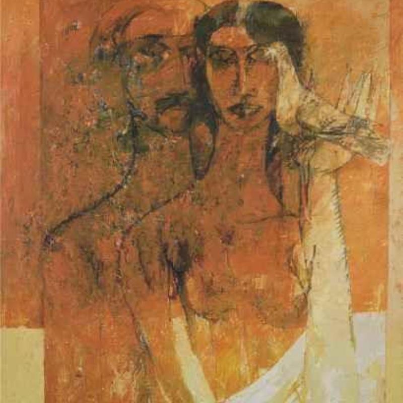His four preferred themes: prajna paramita, horses, nudes and pigeons