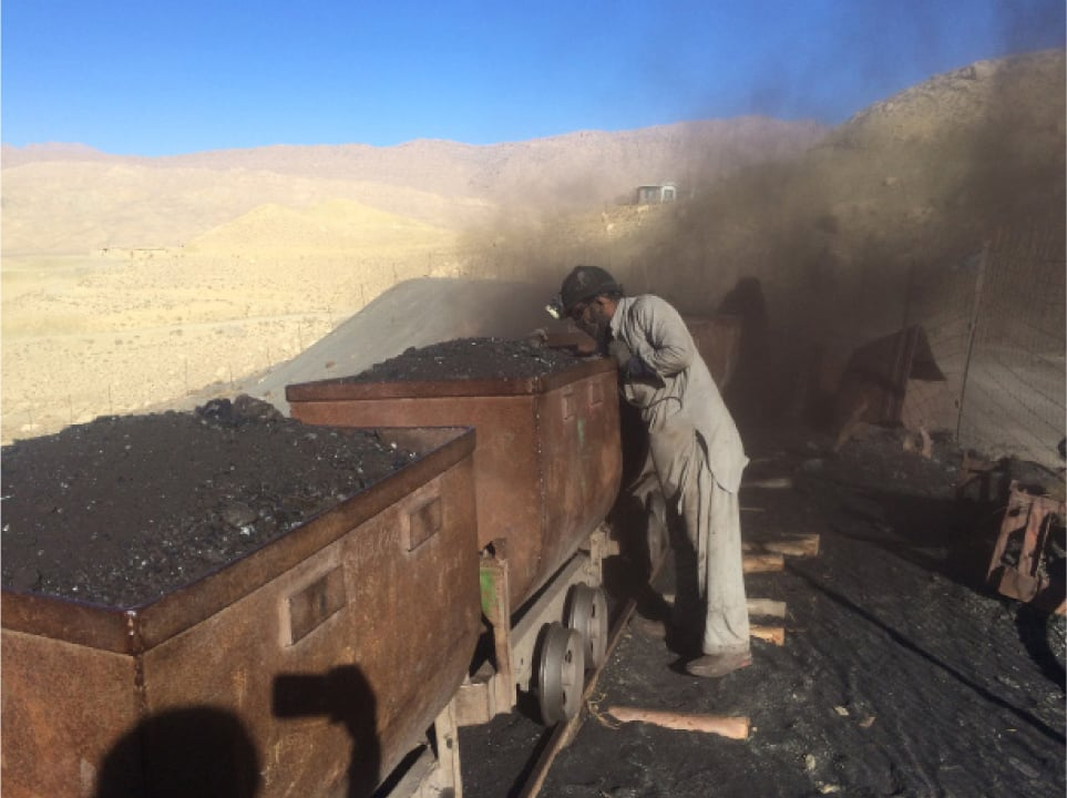 A collier in Sor Range empties a coal carriage | Photo by Aurangzaib Khan
