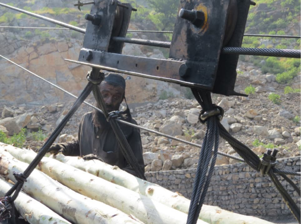 A miner hauling logs onto a pulley in Darra Adam Khel | Photo by Aurangzaib Khan