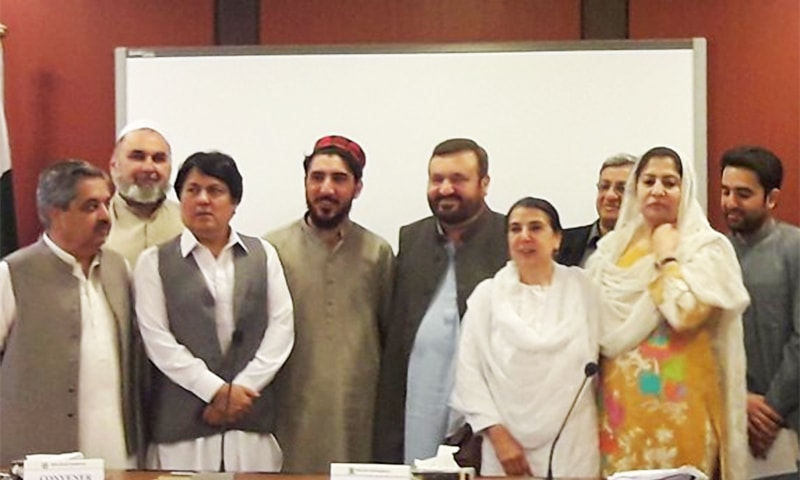 A Pashtun Tahaffuz Movement delegation headed by Manzoor Pashteen briefed a Senate special committee on the Kharqamar check post incident. ─ Photo courtesy Barrister Saif Twitter