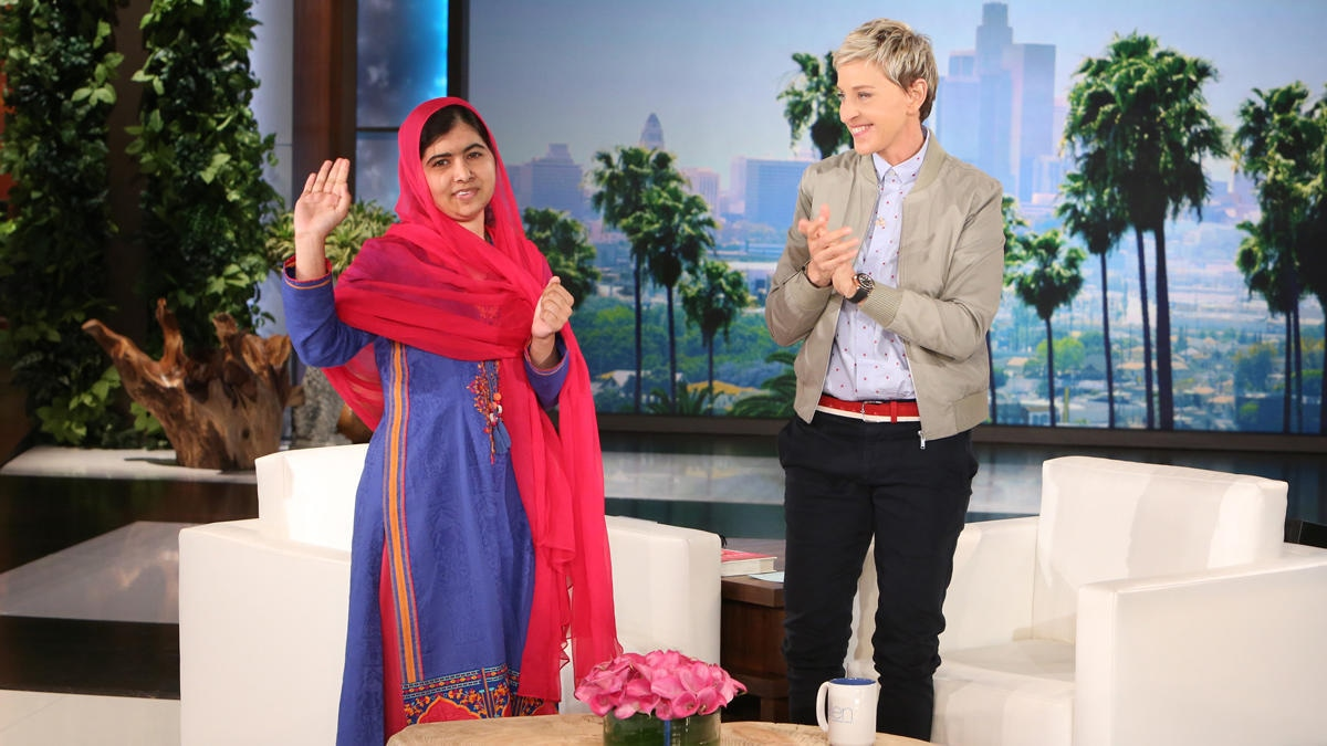 Malala at her 2015 interview on The Ellen Show