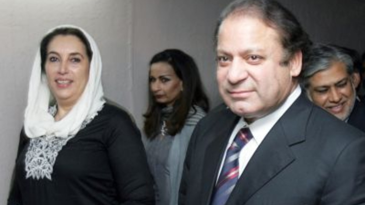 Benazir signing a charter of democracy with Nawaz Sharif in London in 2006