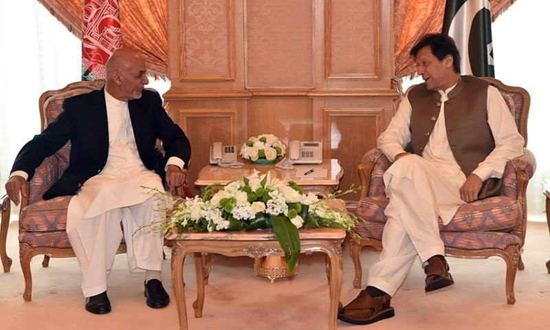 Prime Minister Imran Khan in a meeting with Afghan President Ashraf Ghani in Makkah on Friday. — Photo courtesy PM Office