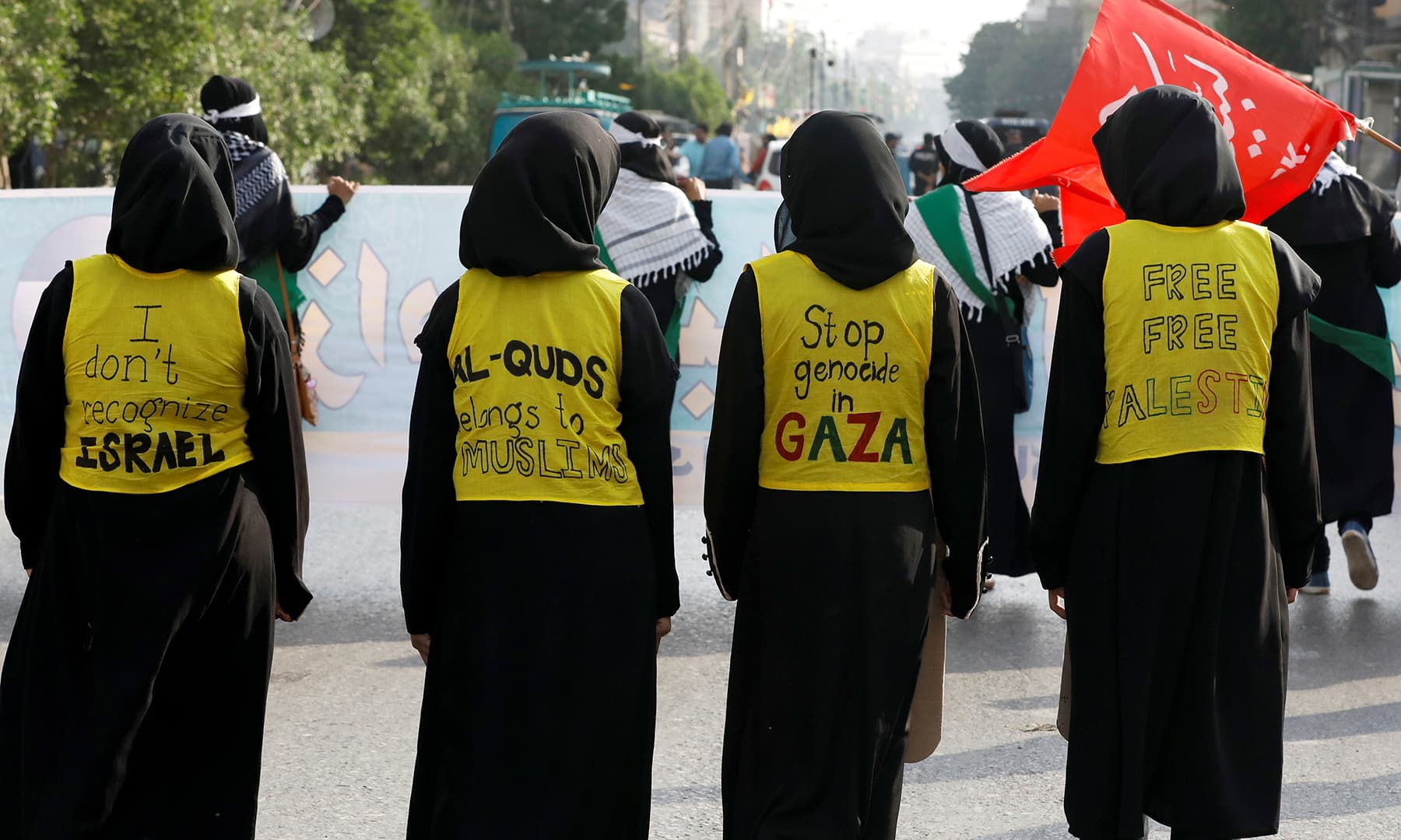 Shia Muslim supporters of the Imamia Student Organisation (ISO) are seen during a rally, marking al-Quds Day (Jerusalem Day), in Karachi on Friday. — Reuters