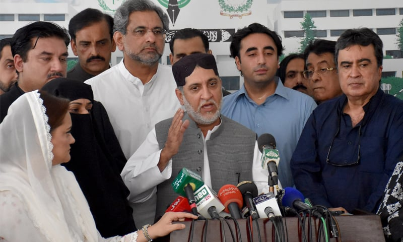SARDAR Akhtar Mengal, chief of his own faction of the Balochistan National Party, talking to journalists outside the Parliament House on Friday. Although BNP-M is part of the ruling coalition, its leaders have been attending opposition meetings since January. PPP chairman Bilawal Bhutto-Zardari and PML-N leaders Shahid Khaqan Abbasi are also seen. Mr Bhutto-Zardari recently claimed that BNP-M won't support the government during the budget session.—Tanveer Shahzad / White Star