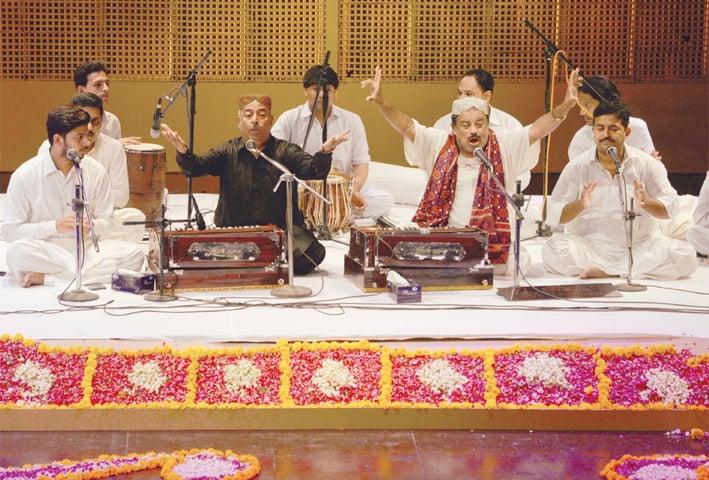 Farid Ayaz and Abu Mohammad perform at Napa on Friday night.—Shakil Adil / White Star