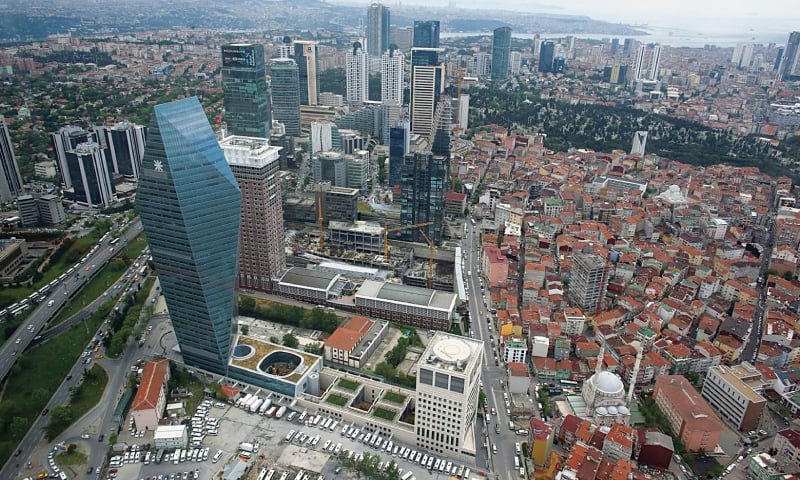 In this file photo, the bussiness and financial district of Levent, which comprises leading Turkish companies' headquarters and popular shopping malls, is seen from the Sapphire Tower. —Reuters