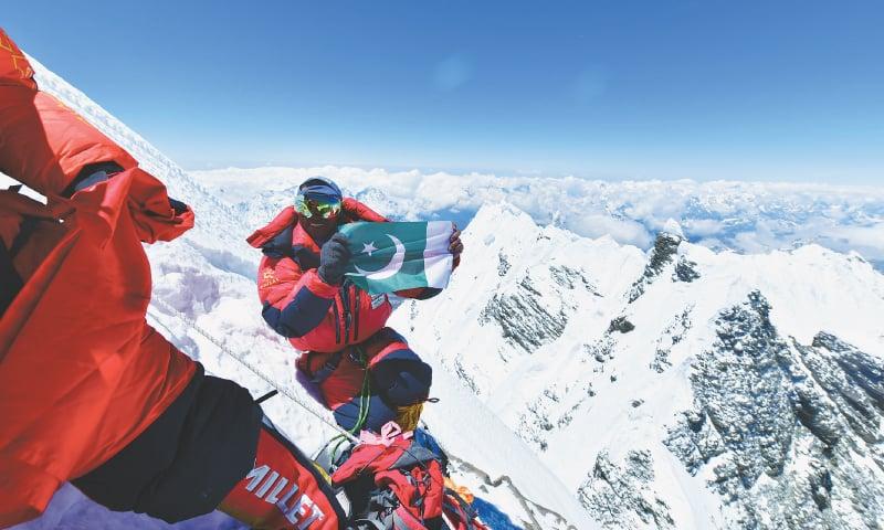 Sirbaz Khan summiting Lhotse, Nepal | Photo courtesy: Sirbaz Khan