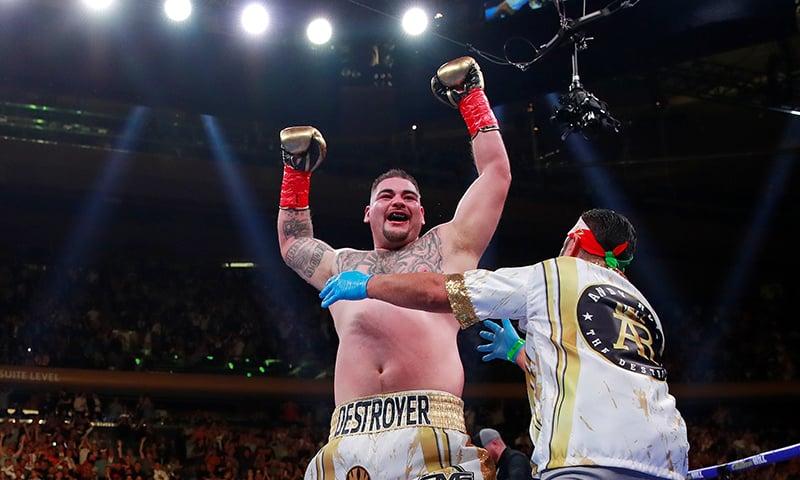 Andy Ruiz Jr celebrates winning the fight. ─ Reuters