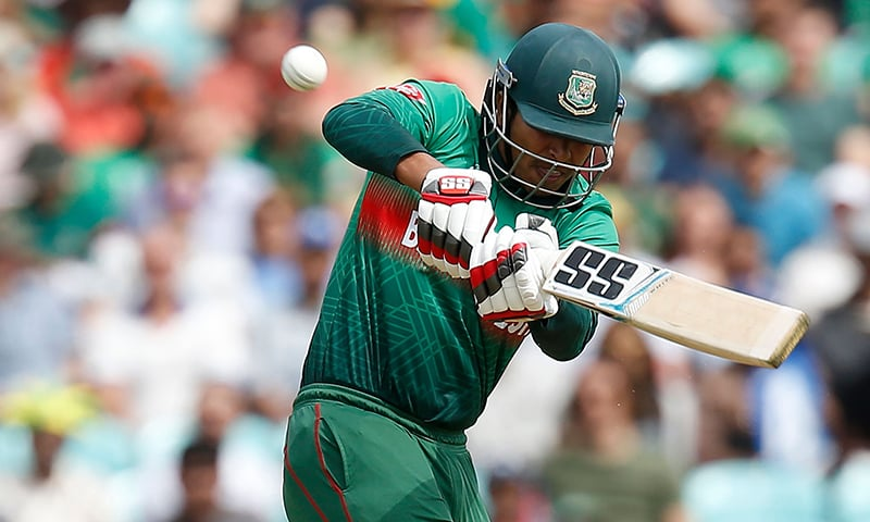 Bangladesh's Soumya Sarkar plays a shot to the boundary during the 2019 Cricket World Cup group stage match between South Africa and Bangladesh at The Oval in London on Sunday. ─ AFP