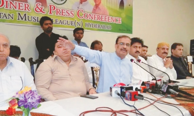 PML-N leader Shah Mohammad Shah speaks at the press conference in Hyderabad on Sunday.—Dawn