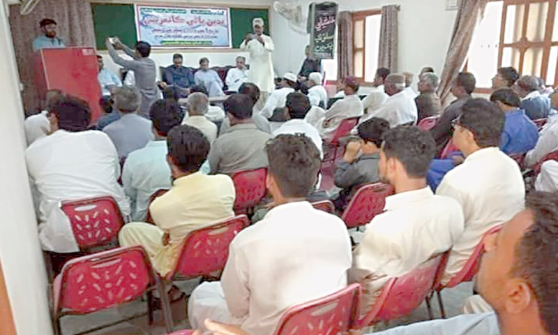PROCEEDINGS of the SBC conference under way in Badin on Saturday evening.—Dawn