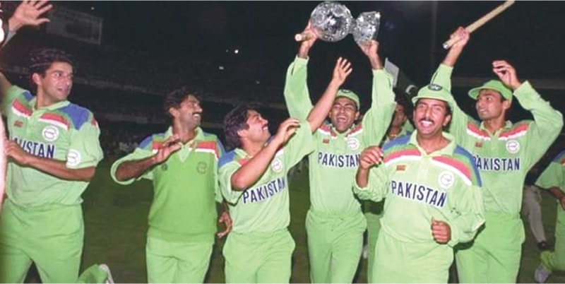 FLASHBACK: Pakistan players enjoy themselves with the Waterford crystal trophy at the Melbourne Cricket Ground on March 25, 1992.