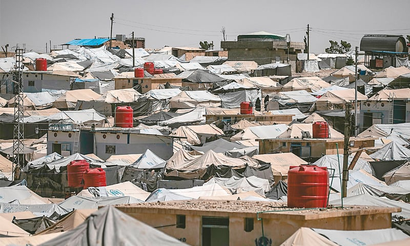 A camp for displaced people in Syria's Al Hasakeh governorate pictured on Sunday. —AFP