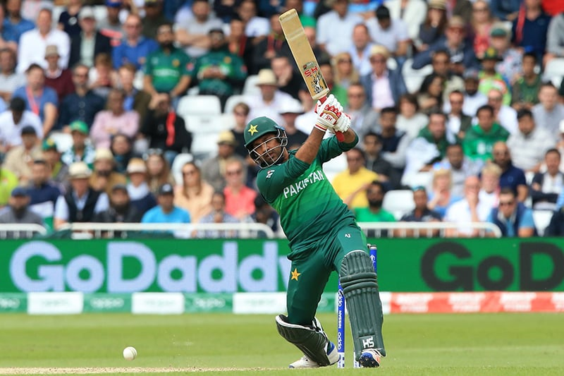 Pakistan's captain Sarfaraz Ahmed plays a shot during the 2019 Cricket World Cup group stage match between England and Pakistan at Trent Bridge in Nottingham, central England, on June 3. — AFP