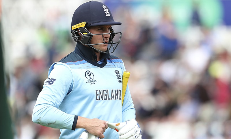 England's Jason Roy leaves the field after being dismissed. — AP