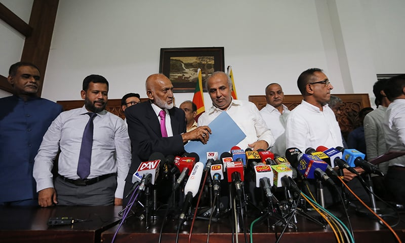 Sri Lanka's Muslim cabinet members leave after addressing media in Colombo, Sri Lanka on Monday, June 3. — AP