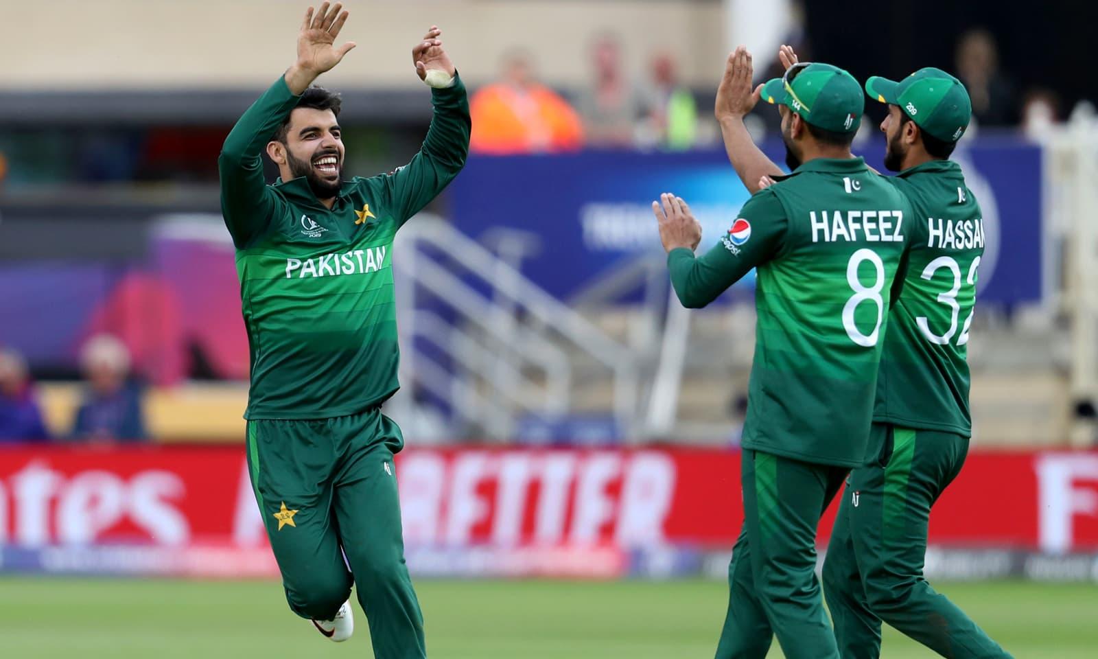 شاداب خان اور دیگر کھلاڑی وکٹ حاصل کرنے پر پرجوش نظر آرہے ہیں — فوٹو: اے پی