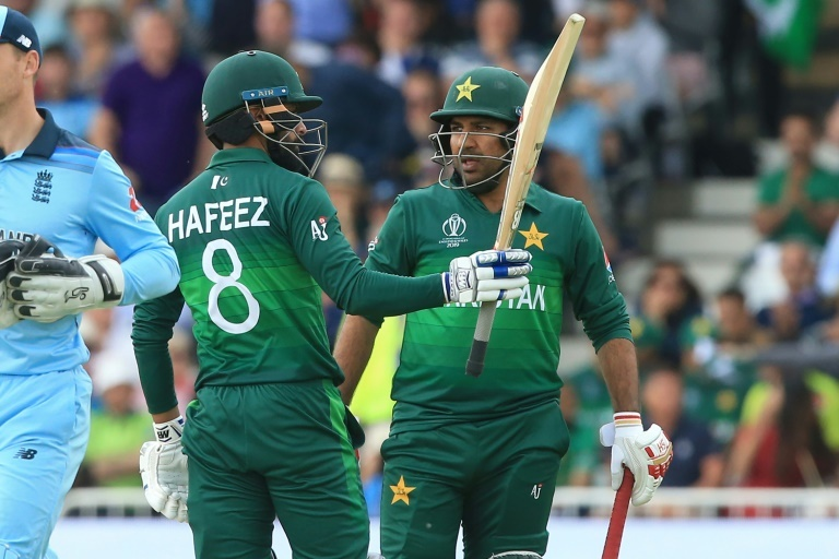 Mohammad Hafeez celebrates reaching his half-century in Pakistan's World Cup match against England at Trent Bridge. — AFP