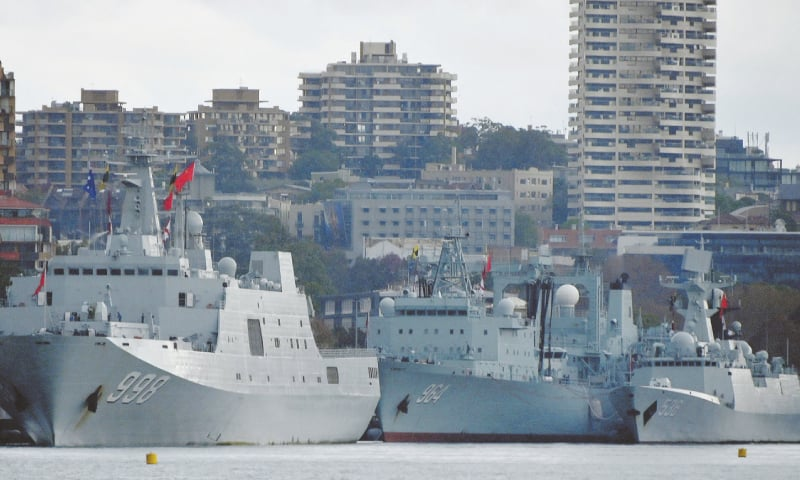 Sydney: Three Chinese warships are seen docked at a naval base in Australia on Monday.—AFP