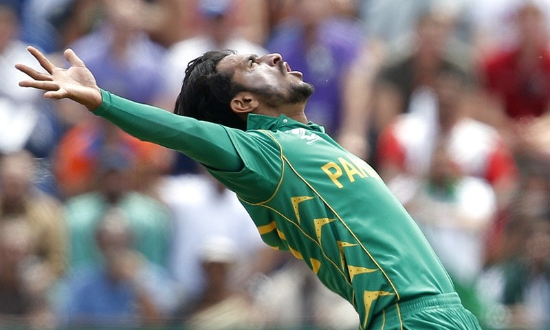 Hasan Ali celebrates after taking a wicket. — Reuters/File