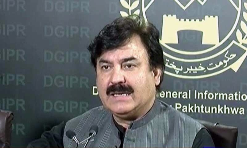 Khyber Pakhtunkhwa Information Minister Shaukat Ali Yousafzai addressing a press conference in Peshawar on May 29. — DawnNewsTV