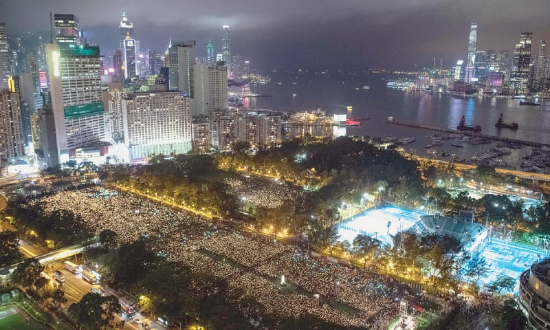 Hong Kong activists hold Tiananmen candlelight vigil