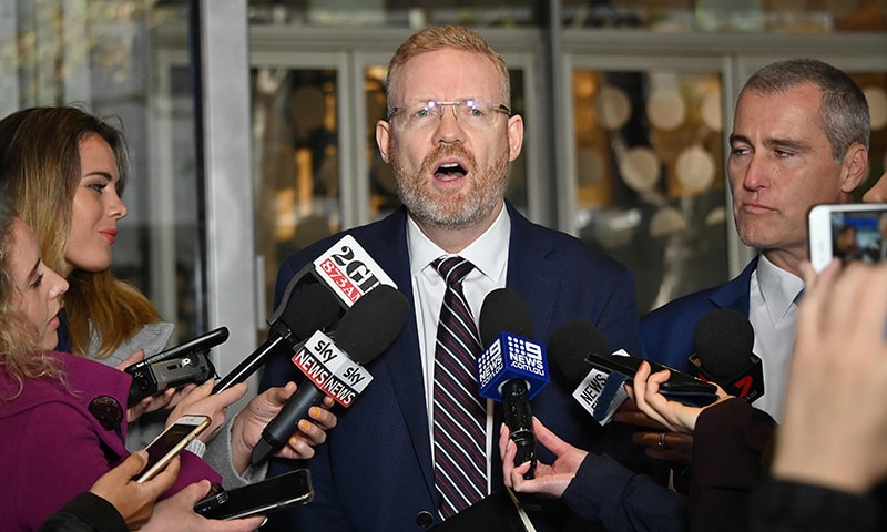ABC's editorial director Craig McMurtrie speaks to the media as Australian police raided the headquarters of public broadcaster in Sydney on June 5. — AFP