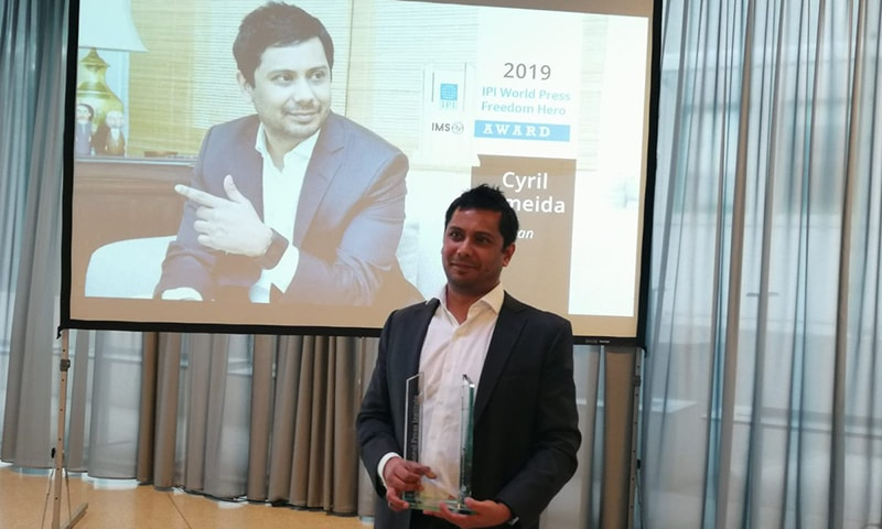 Cyril Almeida is honoured during a special ceremony in Geneva, Switzerland, during IPI's annual World Congress and General Assembly. — Photo courtesy: IPI/Twitter