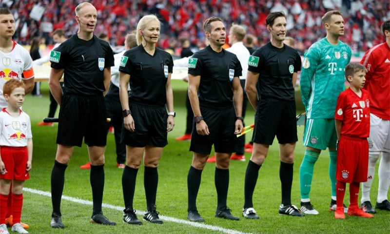 Bibiana Steinhaus is the first and only female referee to officiate in one of top men's leagues in the world. — AFP