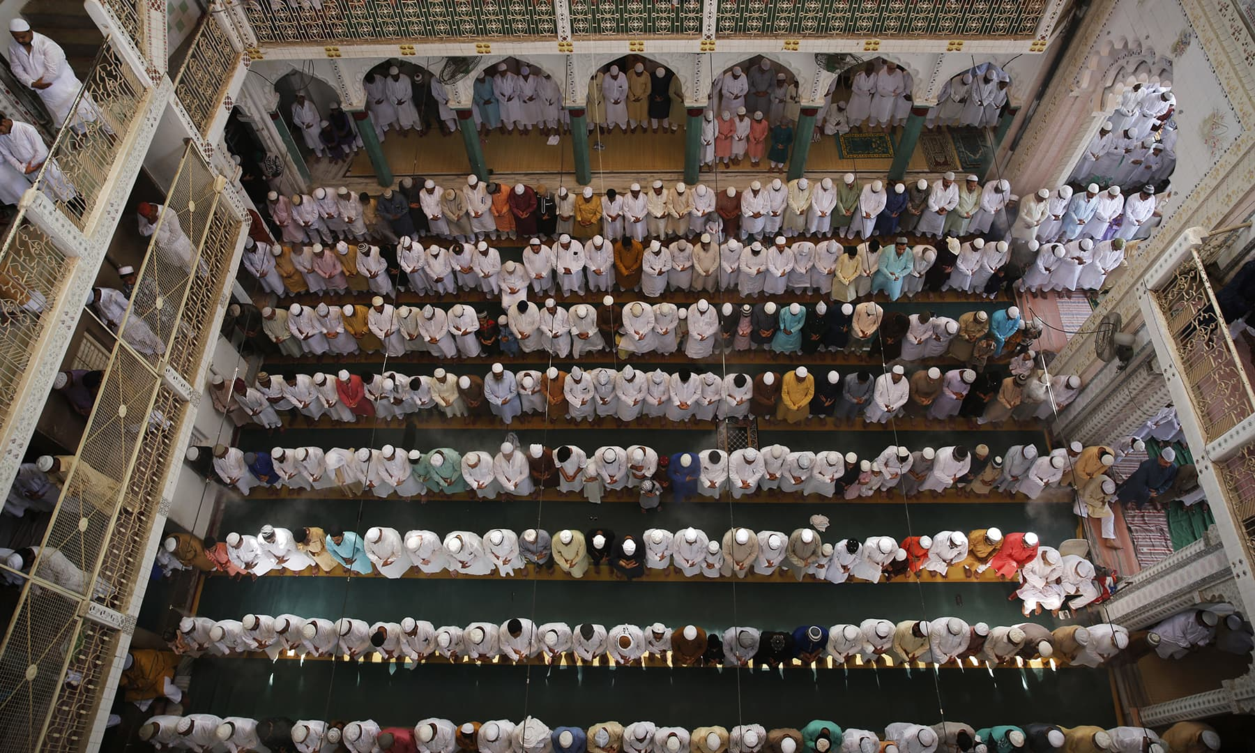 Indian Muslims offer Eidul Fitr prayers at the Vasi Ullah Mosque in Prayagraj on Wednesday, June 5. — AP