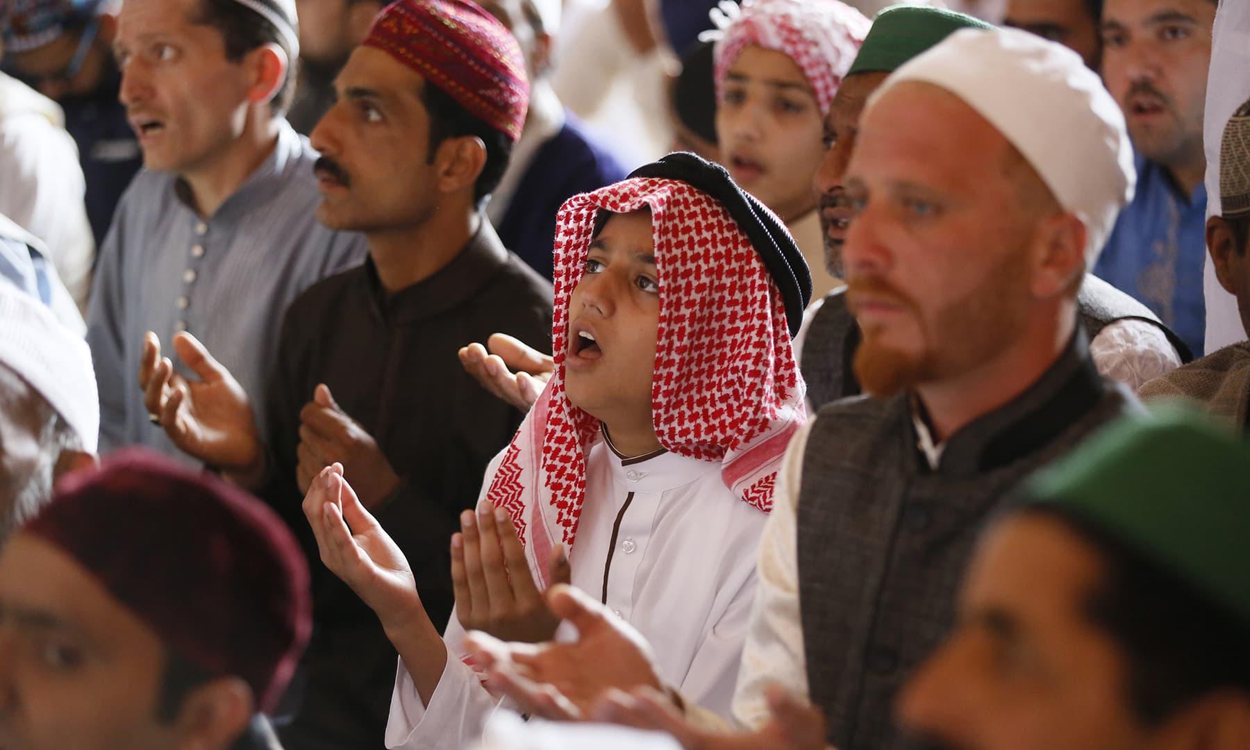 Muslims offer prayers during Eidul Fitr in Srinagar in Indian-occupied Kashmir on Wednesday, June 5. — AP
