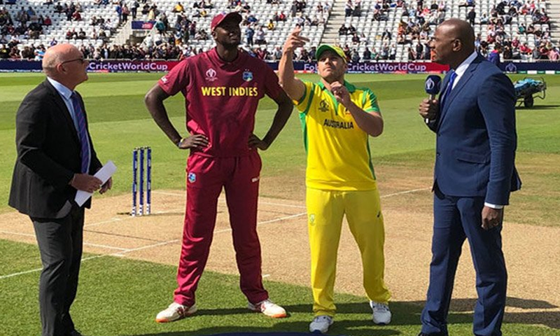 West Indies skipper Jason Holder and Australia captain Aaron Finch at Trent Bridge, Nottingham. — DawnNewsTV