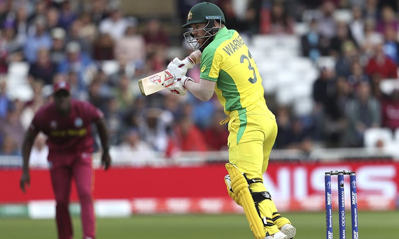 Australia's David Warner plays a shot during the Cricket World Cup match between Australia and West Indies at Trent Bridge in Nottingham on Thursday, June 6. — AP