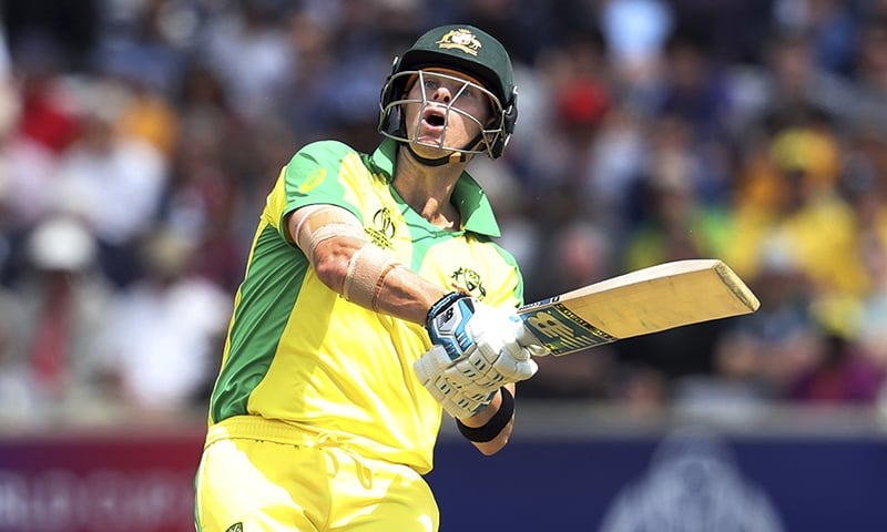 Australia's Steve Smith plays a shot during the Cricket World Cup match between Australia and West Indies at Trent Bridge in Nottingham on Thursday, June 6. — AP