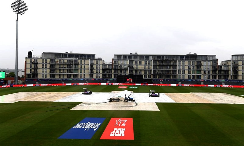 The covers are still on the pitch at Bristol's County Ground. ─ Photo courtesy Cricket World Cup Twitter