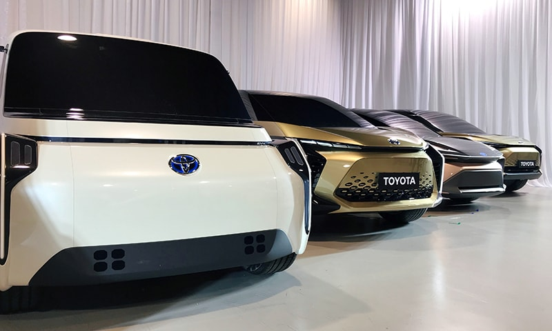 Toyota Motor displays concept versions of its next-generation electric vehicles at a news briefing in Tokyo, Japan on Friday, June 7. — Reuters