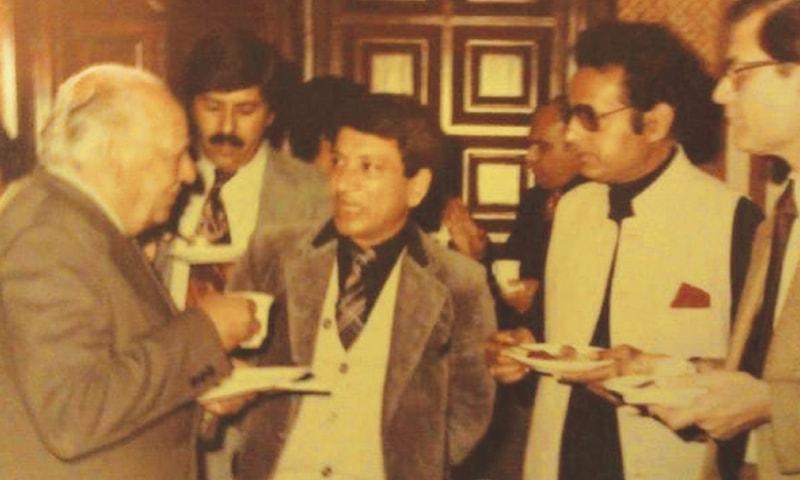 Dr Enver Sajjad pictured with Faiz Ahmed Faiz, Asghar Nadeem Syed and Mustansar Hussain Tarar.—file photo