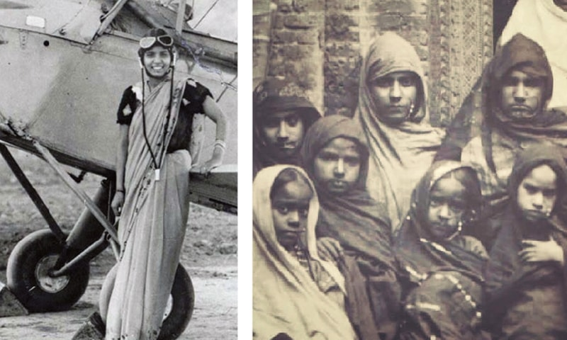 (Left) Sarla Thakral, the first Punjabi woman to get a flying licence, pictured in front of a plane. (Right) A group photograph of girls at a school in Gujranwala circa 1892.—The Lost Heer Project