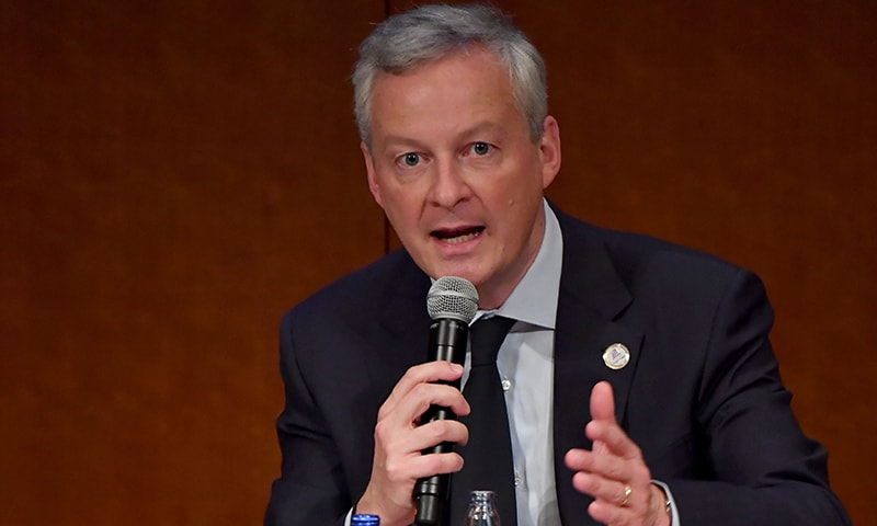 France's Finance Minister Bruno Le Maire delivers a speech during the G20 Ministerial Symposium on International Taxation at the G20 finance ministers and central bank governors meeting in Fukuoka on June 8. — AFP)
