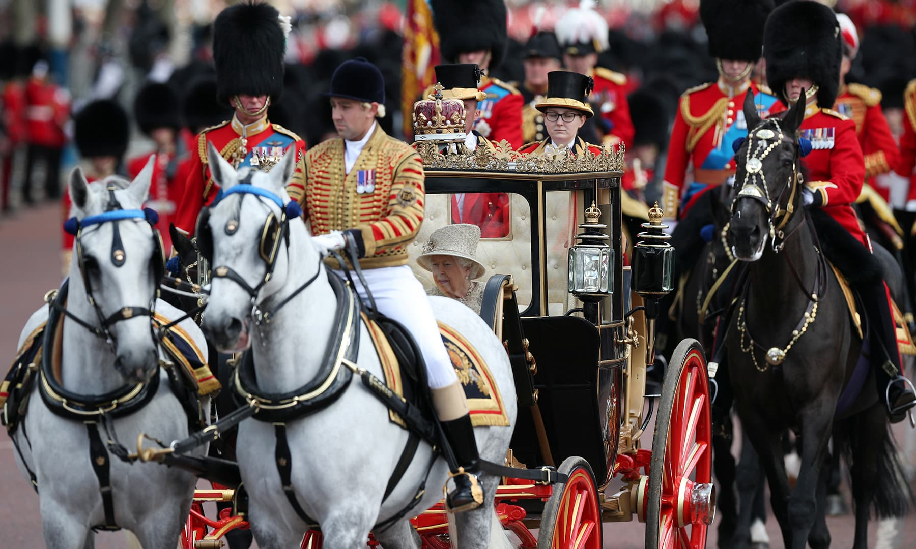 Britain's Queen Elizabeth takes part in the Trooping the Colour parade. — Reuters