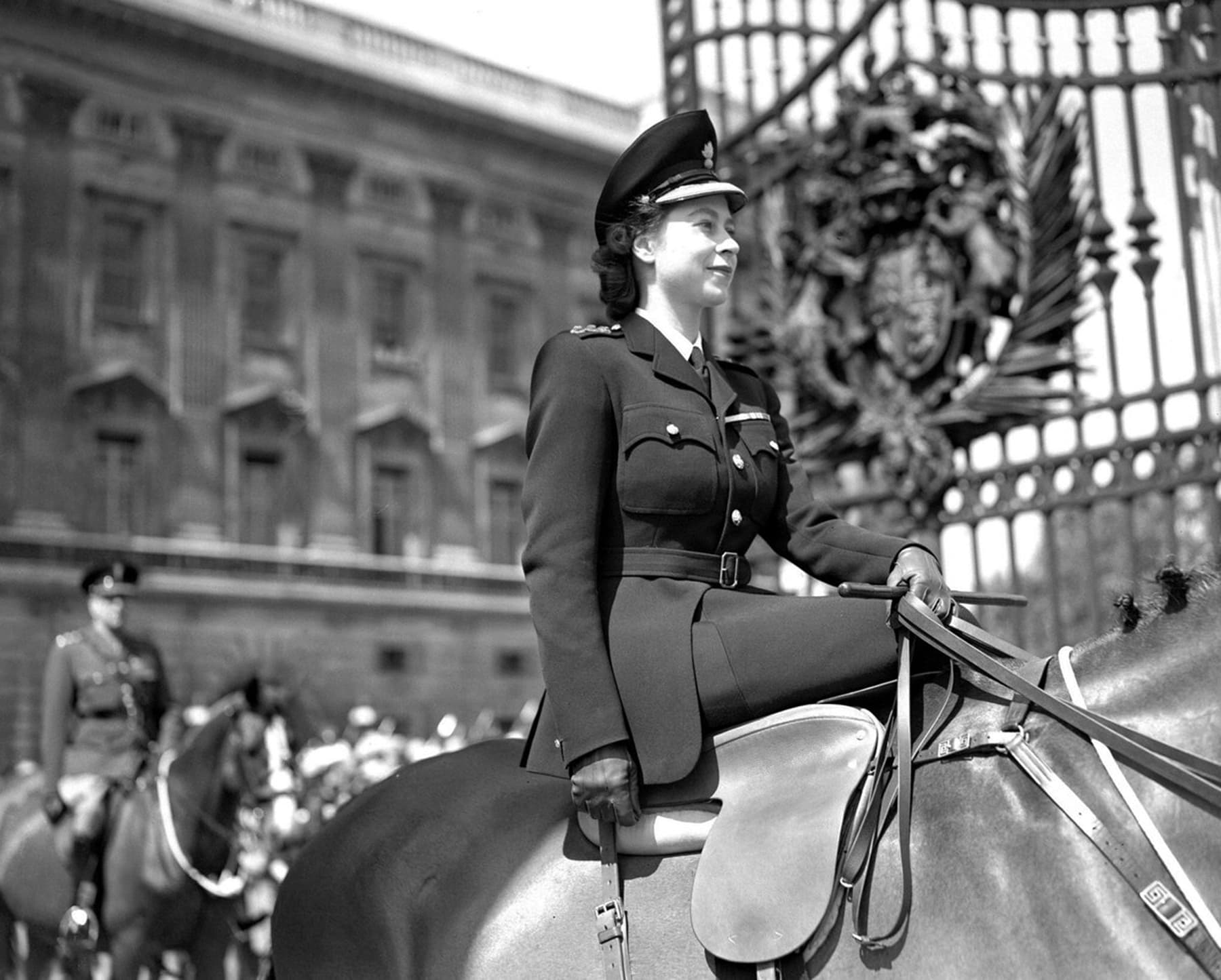 The Queen (then Princess Elizabeth) taking part in her first Trooping The Colour parade in 1947. — Photo courtesy @RoyalFamily