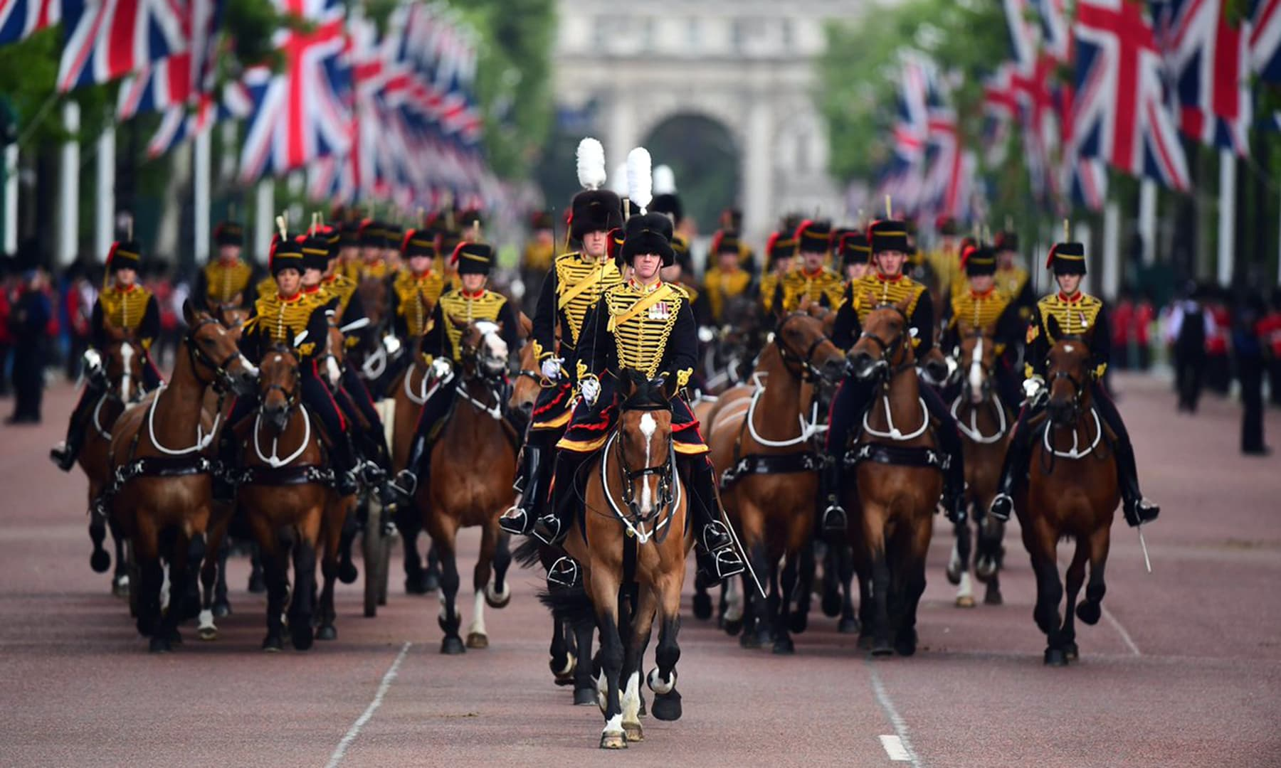 The King's Troop, Royal Horse Artillery, a ceremonial unit of the British Army is pictured taking part in the parade. — Photo courtesy @RoyalFamily