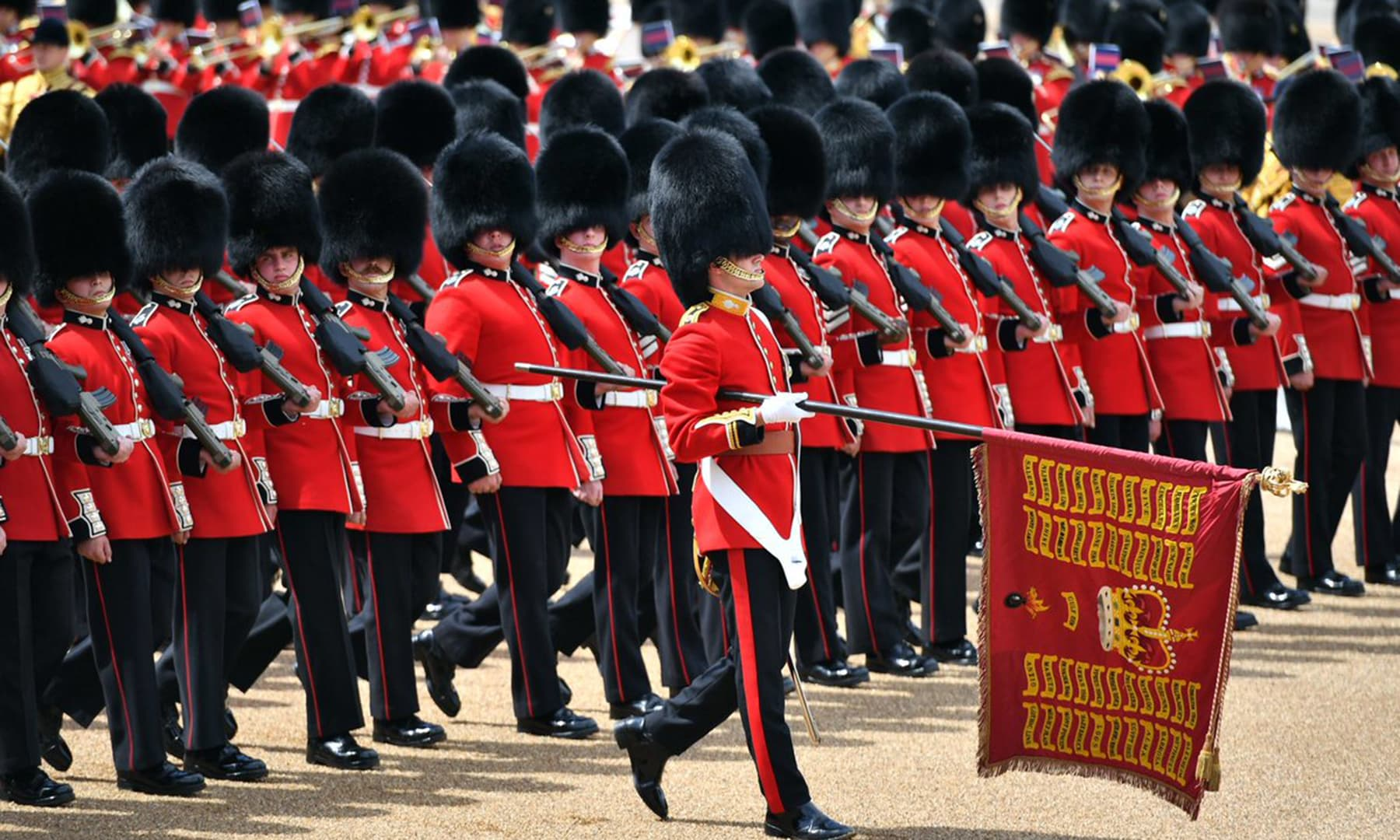 The Colour of the 1st Battalion Grenadier Guards is being trooped at the Queen's Birthday Parade. — Photo courtesy @RoyalFamily