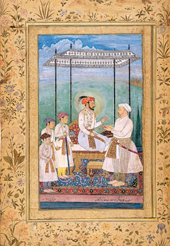 Old Mughal Miniature, Emperor Shah Jahan (1628)