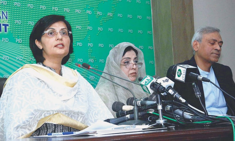 ISLAMABAD: Special Assistant to the Prime Minister on Social Protection and Poverty Alleviation Dr Sania Nishtar addresses a press conference on Saturday.—APP