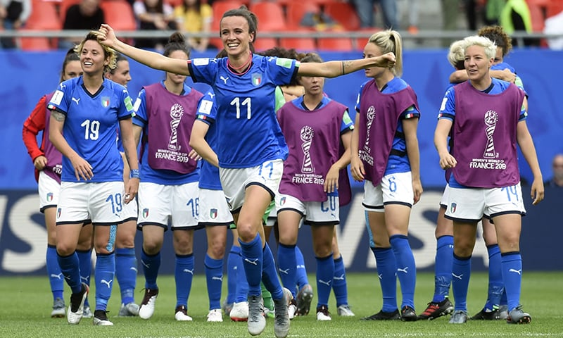 Italy's midfielder Barbara Bonansea celebrates her team's victory at the end of the France 2019 Women's World Cup Group C football match between Australia and Italy. — AFP