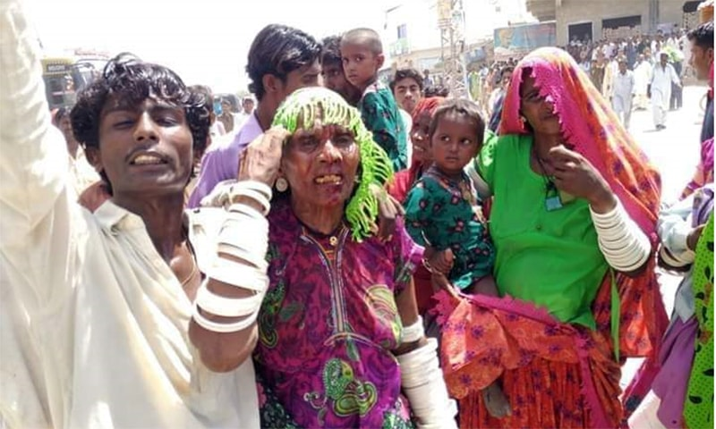 An elderly woman of the Kolhi community was injured after a protest in Umerkot on Sunday escalated. — Photo provided by author