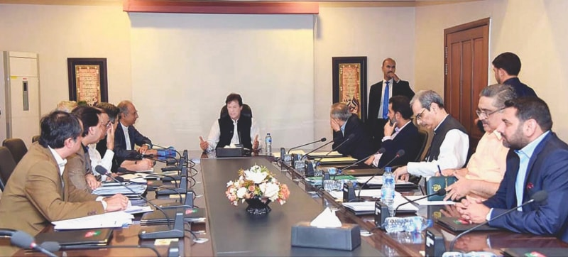ISLAMABAD: Prime Minister Imran Khan chairing a pre-budget meeting on Sunday. — APP